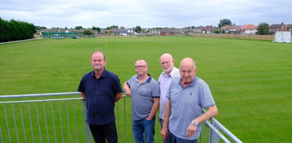 From left: Cllr Ian Moncur, Club Manager Steve Dobbin, Secretary Glyn Lloyd and Club Chairman Bobby Addison at Fleetwood Hesketh Sports Club in Marshside in Southport. Photo by Ollie Cowan