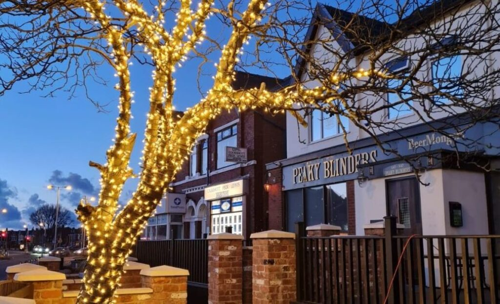 The tree at Peaky Blinders bar in Churchtown in Southport has been illumintaed by Illumidex UK Ltd