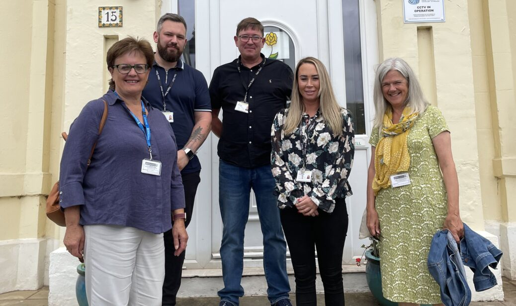 From left: Cllr Janis Blackburne, Andrew Marsden, Neil Baynes, Hannah Blundell and Cllr Carran Waterfield at New Start in Southport