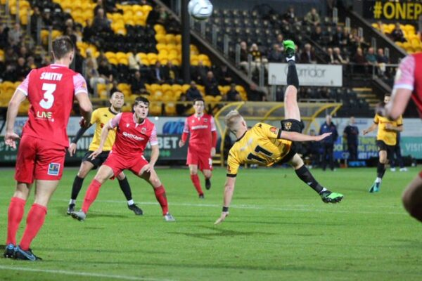 Southport FC in action against Chorley