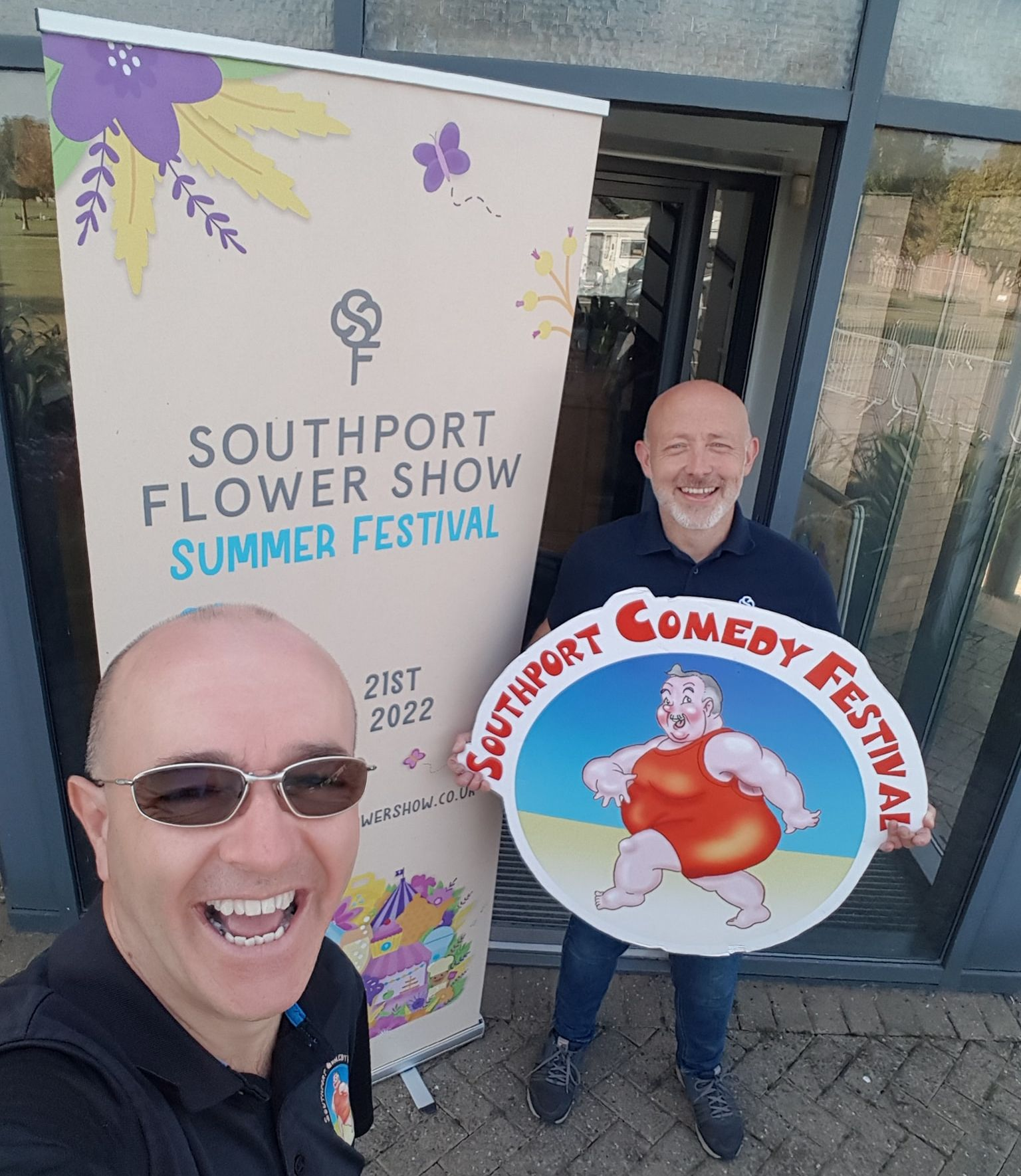 Southport Comedy Festival Director Brendan Riley (left) and Southport Flower Show and Victoria Park Events General Manager Alan Adams (right) at Victoria Park in Southport